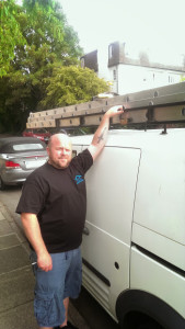 me in uniform by the van