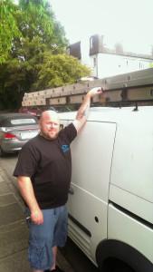 me in uniform by the van
