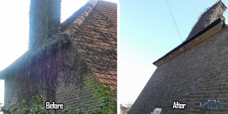 Before and after gutter